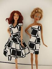 Set of 2 Black Dresses Both in a Fun Geometric Pattern Made to Fit Barbie Doll