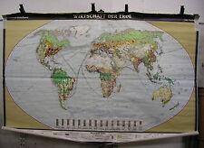 schöne alte Schulwandkarte Weltkarte Wirtschaft der Erde 244x159 Tapete ~1960