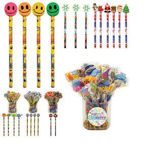 Novelty Pencils with Eraser - Football Pirate Frozen Princess Dinosaur - 12 Pack