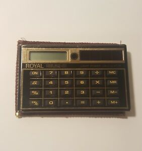 Royal Solar 40u Vintage Calculator with Case and Instructions Works Great