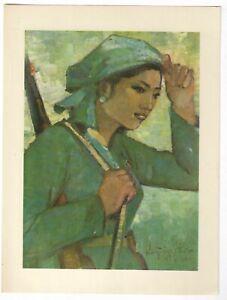 Guerrilla Girl Rifle Viet Cong Vietnam War Art Sheet 1960s 7*10''