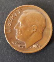 USA RARE  ERROR COIN 10 CENTS 1967 COPPER
