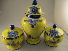 Hand Painted Ceramic Storage Jars/Kitchen Decoration - Continental Rustic Charm