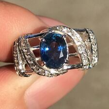 VIVID 2.35CT CEYLON Blue Sapphire & Diamond 18K Solid White GOLD Engagement Ring
