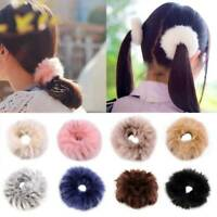 Women Girls Fluffy Faux Fur Furry Scrunchie Elastic Hair Ring Rope Accessories