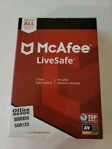 McAfee LiveSafe 2019 Unlimited Devices PCs Mac Android iOS 1 Year License