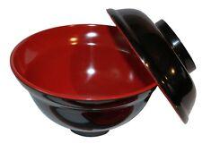 Black/Red Melamie Miso Soup Vegetable Bowl With Lid 16oz
