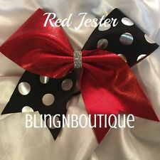 CHEER BOW - Red Tic Toc W/Black with Silver Polka Dots - Red Jester