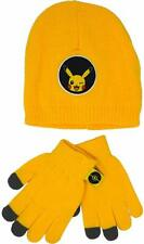 Official Licensed Kids Pokemon Pikachu Winter Beanie Hat And Gloves Age 4-8 Year