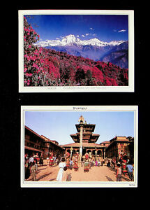 NEPAL BHAKTPUR RHODODENDRONS TURN HILL RED 2 PPC TO UK GB W/1v