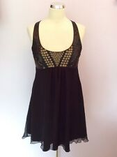 LIPSY BLACK SEQUIN & BEADED TRIM CUT OUT BACK SILK DRESS SIZE 12