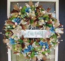 XL Designer Rabbit Be Our Guest Easter Deco Mesh Front Door Wreath, Spring Decor