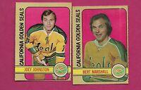 1972-73 OPC SEALS BERT MARSHALL + JOEY JOHNSTON  EX-MT CARD (INV#2102)
