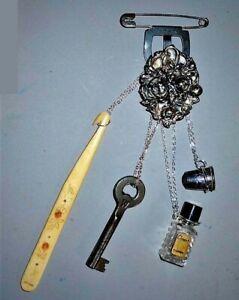 CHATELAINE S P. Belt Clasp Pat'd 1905, Sterling Thimble, Perfume, Shoe Hook Key