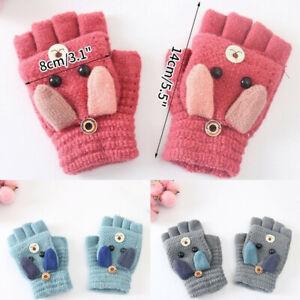 Boys Girls Fingerless Half Capped 2 in 1 Gloves  Winter Warm Combo Mittens