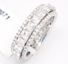 18k White Gold VS1, F-G 3.98tcw Asscher Diamonds Triple Row Eternity Ring, 7