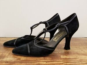 Vintage Women's Salvatore Ferragamo Black Suede T-strap Mary Jane - Size 10