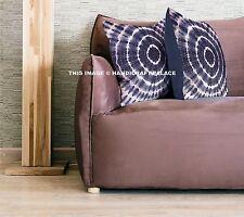 Indigo Blue Floral Block Mandala Kantha Cushion Pillow Cover Indian Throw Decor