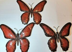 3D Butterfly Hanging Sculpture Metal With Hole Wall Art Decor Set of 3