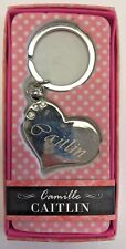 CAITLIN Camille heart silver color personalized KEYCHAIN BRAND NEW IN PACKAGE