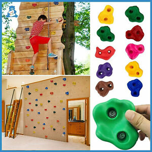 10X Rock Climbing Holds Wall Stones Kids In/Outdoor Playground With Fixing Set