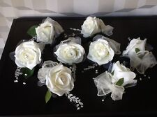 1 x WEDDING FLOWERS IVORY ROSE / ORGANZA RIBBON BOW  BRIDAL SINGLE BUTTONHOLE