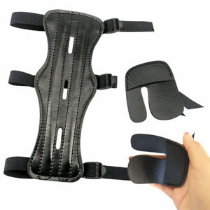 Archery Protector Arm Guard 3 Strap Finger Tab Gear Leather Bow Hunting Shooting