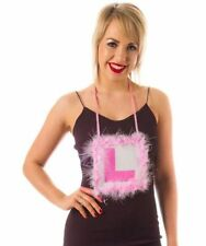 Miss Behave Pink Fluffy Furry L Plate Necklace Hen Party Bride to be Night