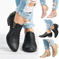 Womens Mid Low Heel Block Ankle Boots Ladies Chunky Casual Work Shoes Booties CA