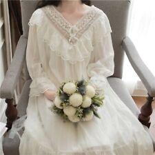 Damen Mädchen Lolita Viktorianisch Vintage Nachtwäsche Rüschen Spitze Nachthemd