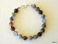 Botswana Agate Bracelet Men's Ladies Unisex Bracelet Multi Colour Agate 8mm
