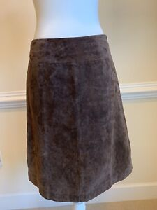 PRESWICK & MOORE Size 8 Brown Suede Leather Skirt Fully Lined. PRE-OWNED