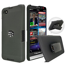FOR BLACKBERRY Z30 BLACK RUBBERIZED HARD CASE COVER + BELT CLIP HOLSTER STAND