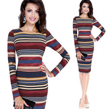 """""""VANESSA"""" BEAUTIFUL LADIES BLUE RED CREAM STRIPE SIZE 14 FITTED QUALITY DRESS"""