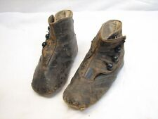 Antique Pair Victorian Leather Baby Boot Shoes Button Up Booties Ornate