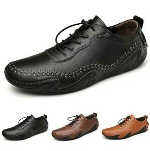 38-46 Mens Leisure Leather Shoes Driving Moccasins Flats Soft Comfy Breathable