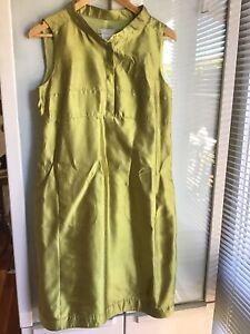 Max Mara Chatreuse 100% Silk Dress Size 12