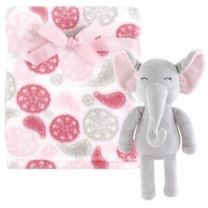 Hudson Baby Girl Plush Blanket with Plush Toy Set, Pasiley Elephant