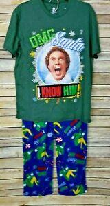 Elf OMG Santa I Know Him 2 Piece L Pajamas Set Top Lounge Pants Sleepwear New