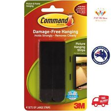 3M COMMAND Damage Free Hook 4 Sets Large Picture Hanging Strips 7.2Kg Aus Stock