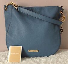 Michael Kors Stanthorpe Blue Leather Gold Hardware Shoulder Bag Zip Closure $398