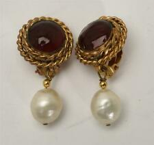 CHANEL Vintage 1983 Gold Tone Ruby Glass Gripoix Faux Pearl Clip-On Earrings