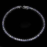 Unheated Round 2.5mm Blue Violet Tanzanite 925 Sterling Silver Bracelet 8 Inch
