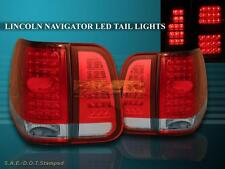 2003 2004 2005 2006 LINCOLN NAVIGATOR RED / CLEAR LED TAIL LIGHTS 4 PIECES SET