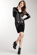 Yuka Paris Yu.K. Black V-Neck Studded Sweaterdress Size T-5/ 14 US NWT $177