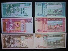 MONGOLIA  10 + 20 + 50  Tugrik 2000/02  (P62b + P63b + P64a)  UNC