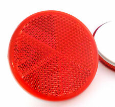 2x Self-Adhesive Stick-on Red Round Circular Trailer Caravan Reflectors 60mm
