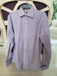 THOMAS PINK FRENCH CUFF PURPLE/WHITE STRIPE DRESS SHIRT 16-41cm SLIM FIT$185 NEW
