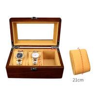 Holz Schmuckkasten für 3 Uhren, Uhrenbox Uhrenkoffer Uhrenkasten,