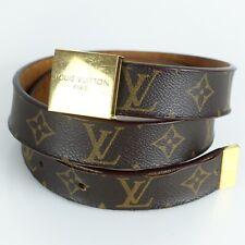 Auth LOUIS VUITTON CEINTURE CARRE Belt Monogram Gold Brown M6800 75 / 30